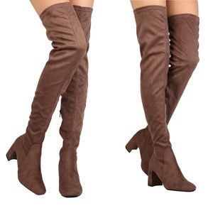 Brown faux suede over the knee thigh fall boots
